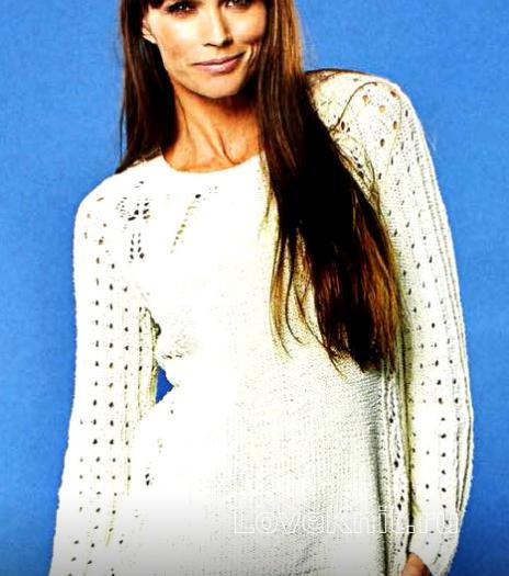 Как связать спицами пуловер с ажурными рукавами реглан