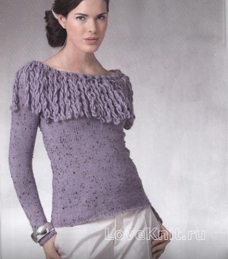 Как связать спицами пуловер с бахромой и вырезом лодочкой