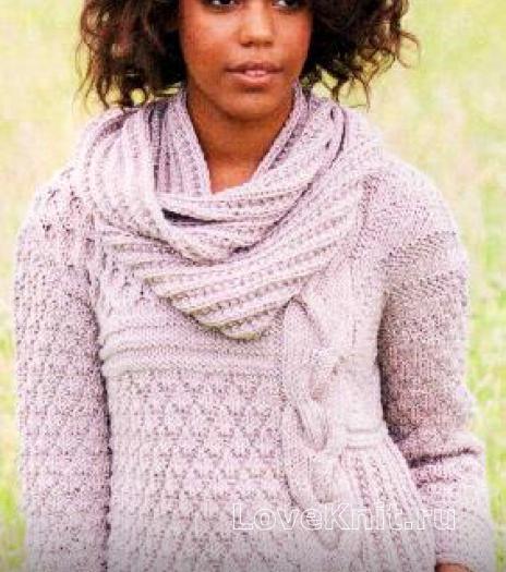 Как связать спицами пуловер с большой косой и шарф-хомут