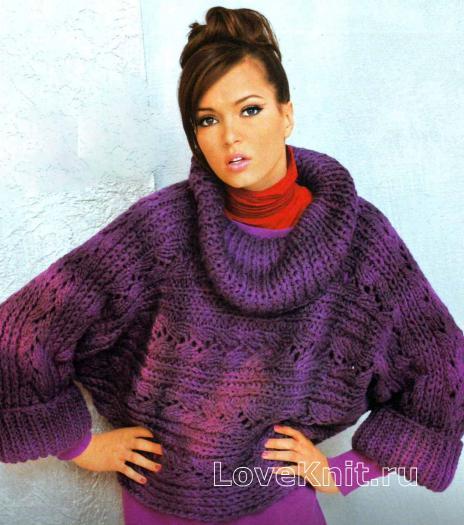 """Как связать спицами пуловер c рукавами """"летучая мышь"""""""