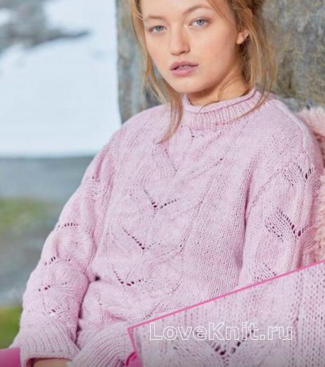 Как связать спицами пуловер с центральным ажурным узором