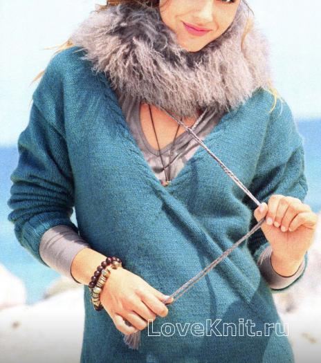 Как связать спицами пуловер цвета морской волны