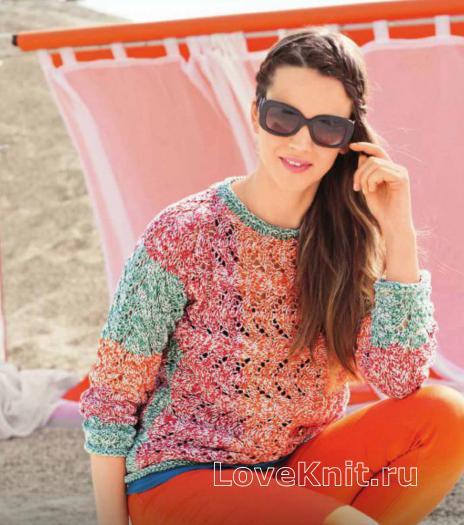 Как связать спицами пуловер из двух нитей
