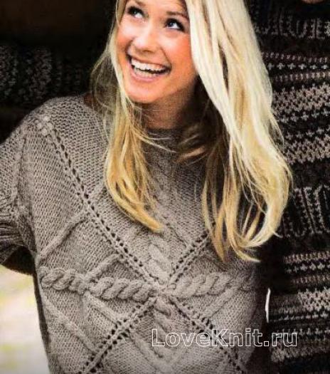 Как связать спицами пуловер с геометрическим узором