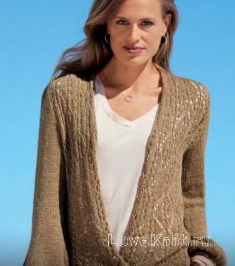 Как связать спицами пуловер с глубоким запахом и широкими рукавами