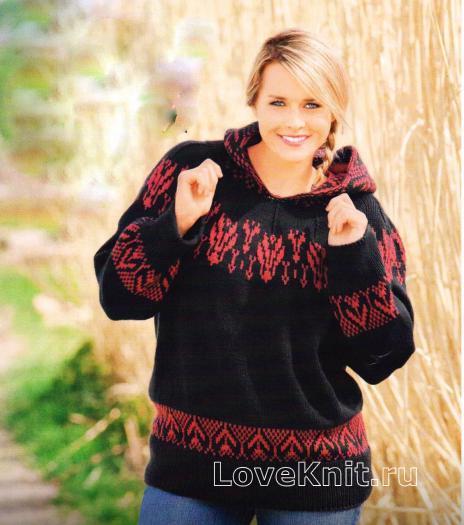 Как связать спицами пуловер с капюшоном с жаккардовым узором