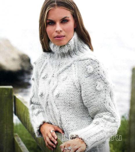 Как связать спицами пуловер с крупным узором