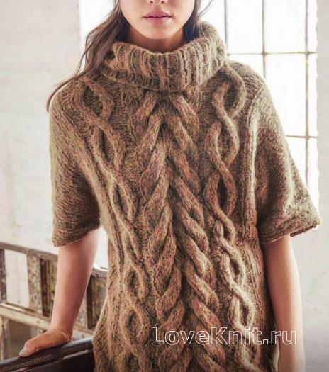 Как связать спицами пуловер с крупными косами и большим воротником