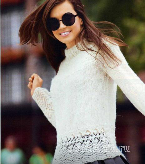 Как связать спицами пуловер с кружевной отделкой