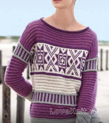 Как связать спицами пуловер с норвежским узором и ажурным низом