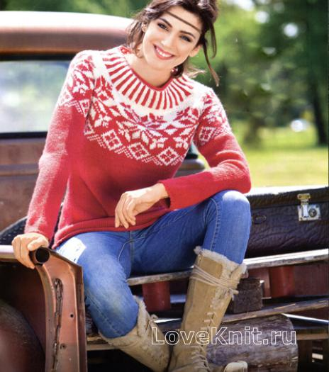 Как связать спицами пуловер с норвежским узором в бело-красной гамме