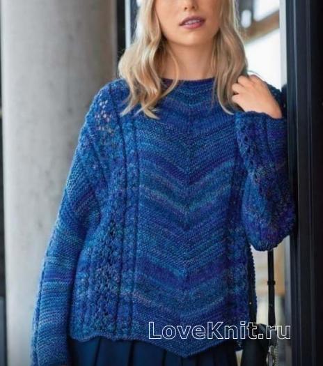Как связать спицами пуловер оверсайз с ажурными узорами
