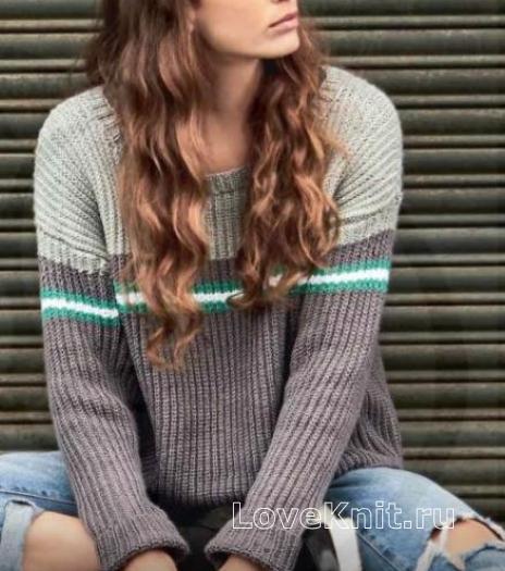 Как связать спицами пуловер оверсайз с контрастным рисунком