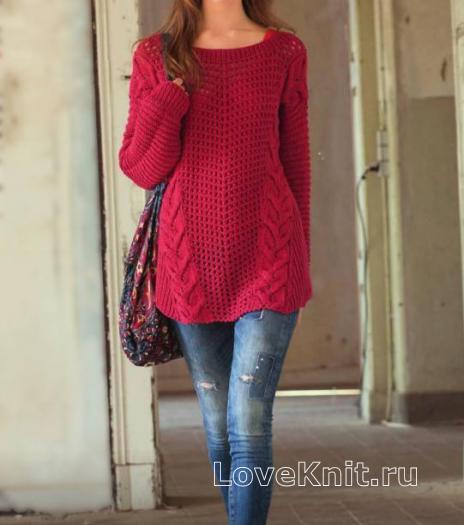 Как связать спицами пуловер оверсайз с косами