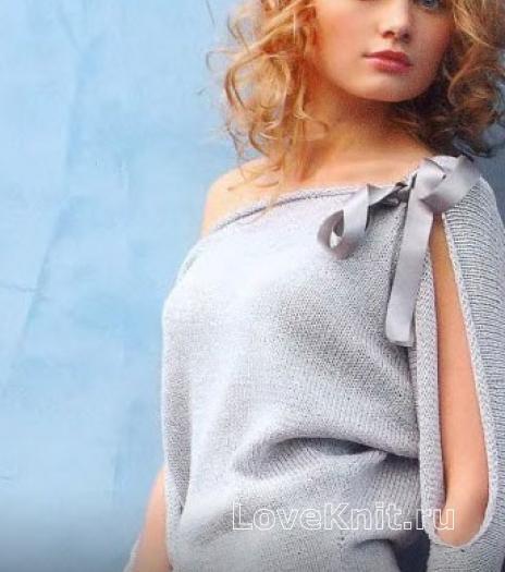Как связать спицами пуловер с разрезами на рукавах