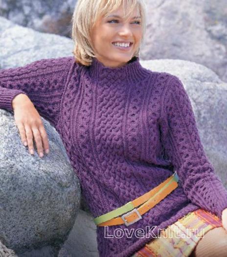 Как связать спицами пуловер с рельефными узорами
