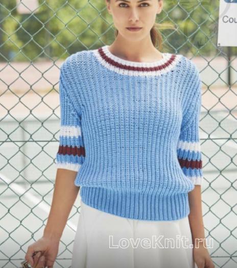 Как связать спицами пуловер резинкой с контрастным рисунком