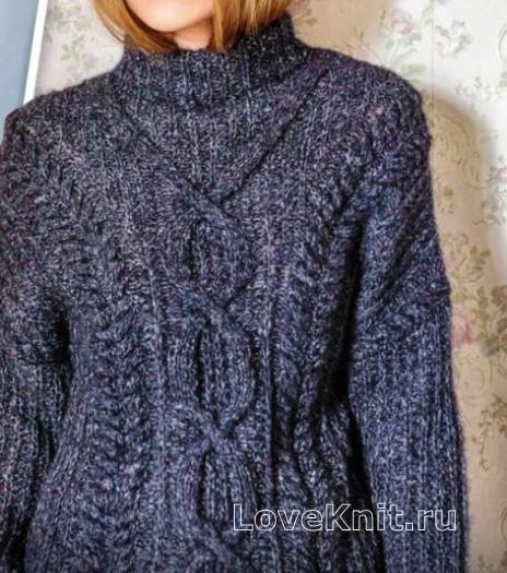 Как связать спицами пуловер с ромбами с высоким воротом