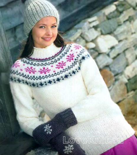 Как связать спицами пуловер, шапка и варежки с жаккардовым узором