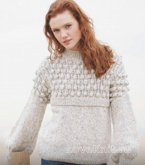 Как связать спицами пуловер с сочетанием узоров из шишечек