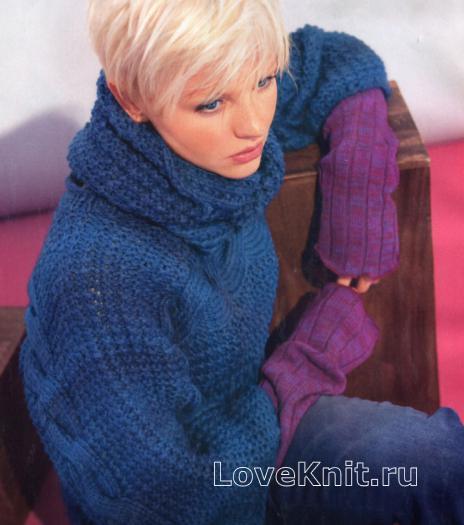 Как связать спицами пуловер со связанной поперёк верхней частью