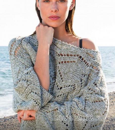 Как связать спицами пуловер-туника с рукавом летучая мышь