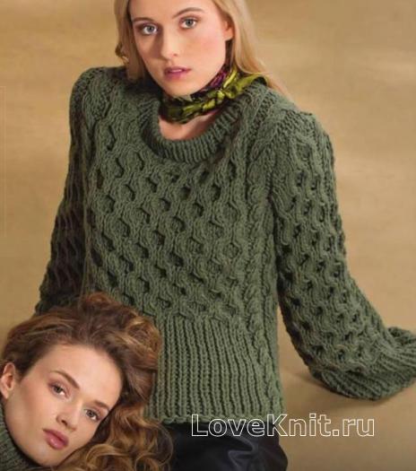 Как связать спицами пуловер с узором из сот и кос