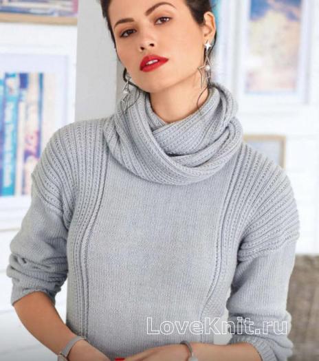 Как связать спицами пуловер в резинку и снуд