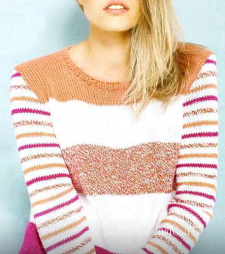 Как связать спицами пуловер в широкую цветную полоску