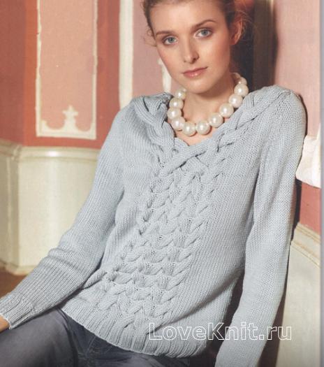Как связать спицами пуловер с воротником из кос