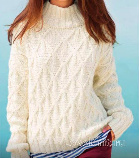 Как связать спицами пуловер с высоким воротником и ромбами