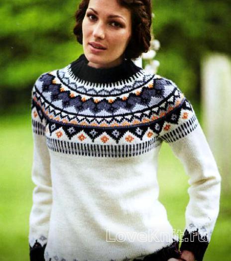 Как связать спицами пуловер с жаккардовой кокеткой
