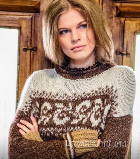 Как связать спицами пуловер  с жаккардовым рисунком