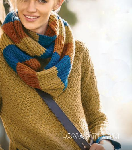 Как связать спицами пуловер с жемчужным узором и цветной шарф-хомут