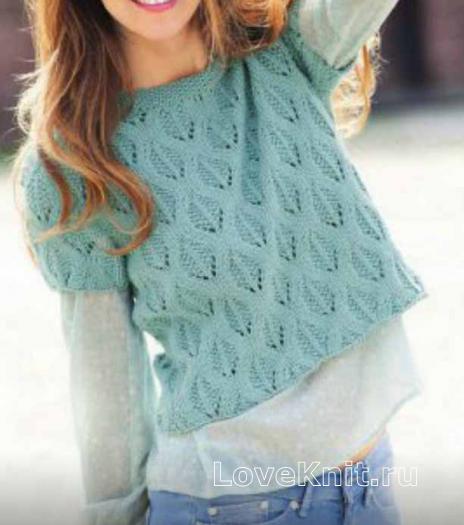 Как связать спицами пуловеры цвета нефрита и мяты