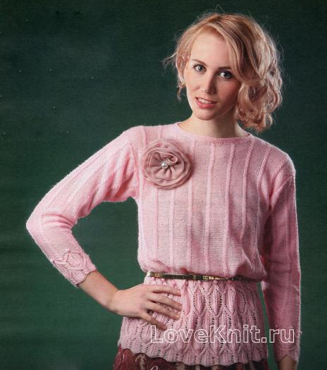 Как связать спицами розовая кофта с цветком