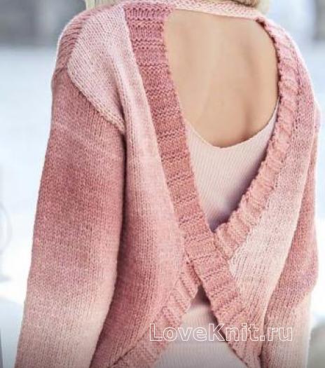 Как связать спицами розовый джемпер с вырезом на спинке
