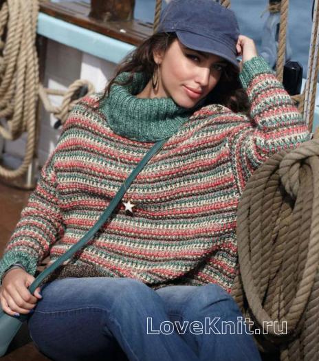 Как связать спицами широкий полосатый свитер с высоким воротником