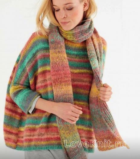 Как связать спицами широкий свитер оверсайз  в полоску