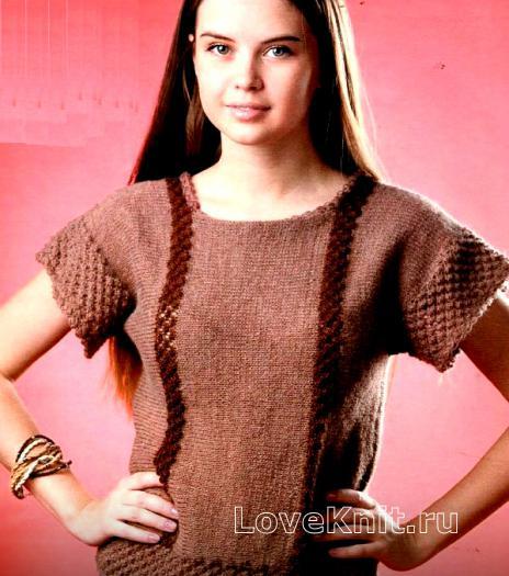 Как связать спицами строгий пуловер с рельефным узором