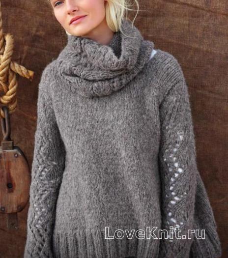 Как связать спицами свитер с ажурными рукавами и воротником