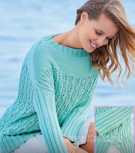 Как связать спицами свитер с боковыми разрезами