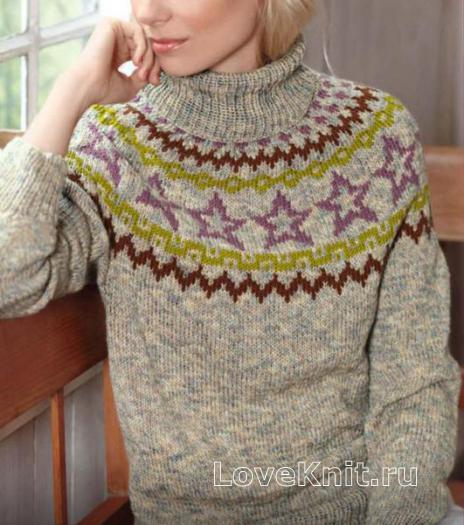 Как связать спицами свитер с цветным рисунком у горловины