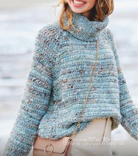 Как связать спицами свитер с объемным воротом и с поперечной резинкой