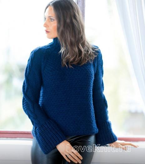 Как связать спицами свитер с объемными узорами на рукавах