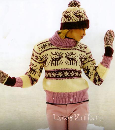 Как связать спицами свитер с оленями в бело-розовой гамме
