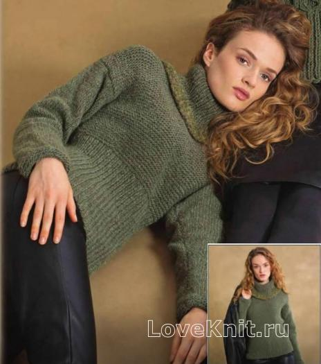 Как связать спицами свитер с отделкой букле у воротника