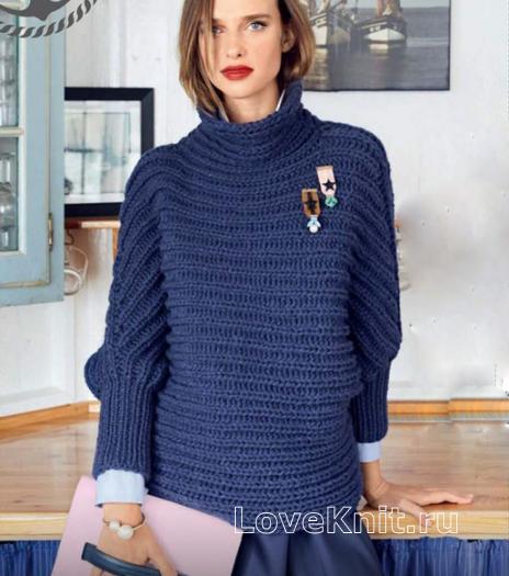 Как связать спицами свитер с патентным узором