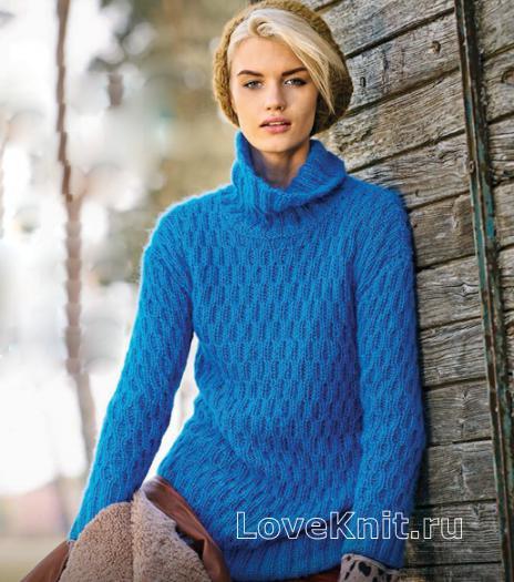 Как связать спицами свитер с рельефным узором