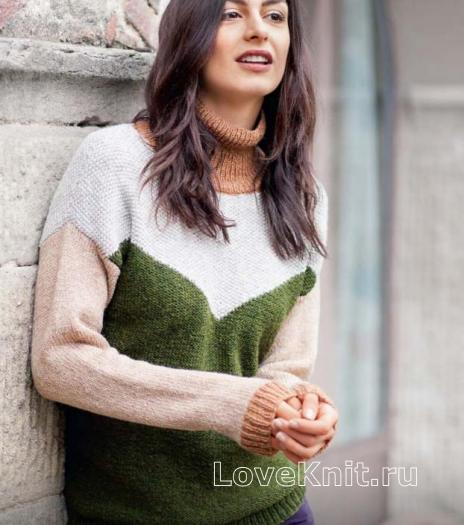 Как связать спицами свитер в стиле колорблок